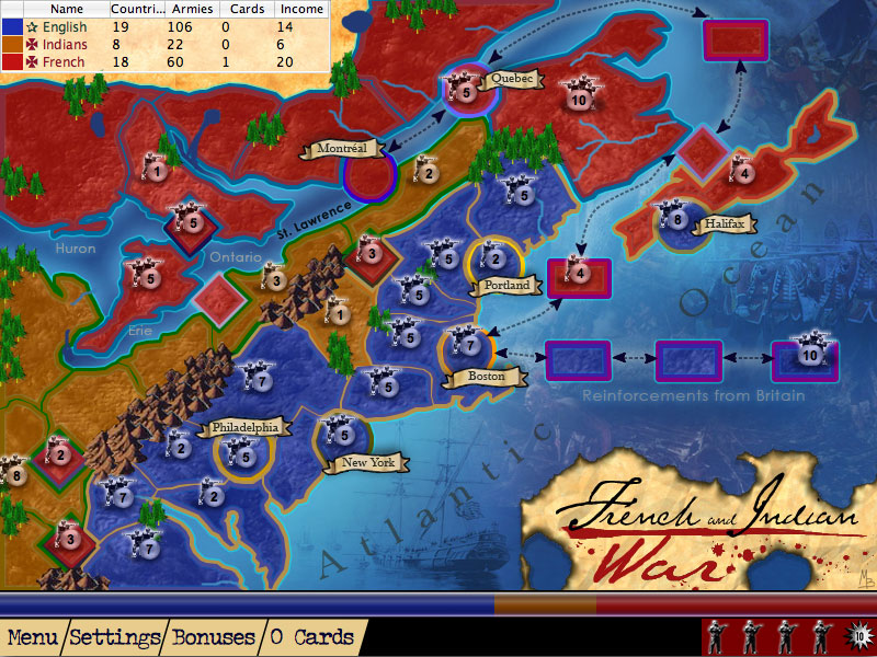 Screenshot of French and Indian War from American History Lux