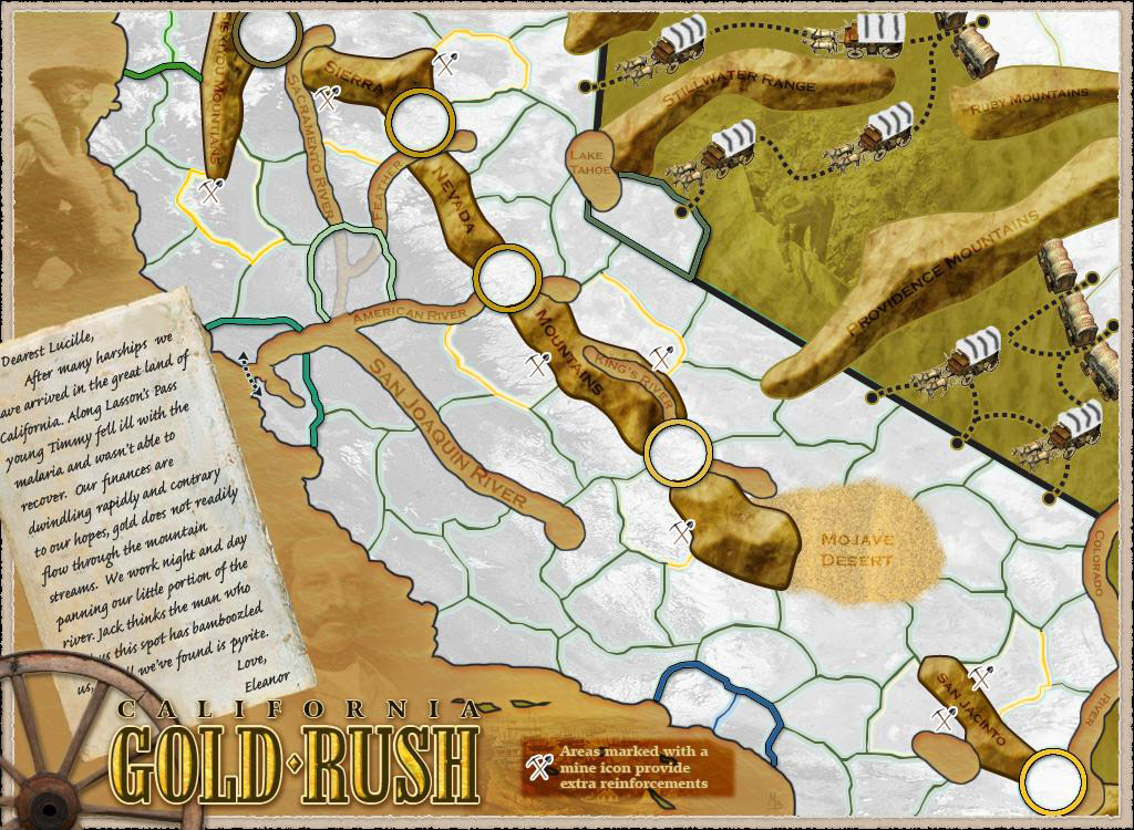 California - Gold Rush Map on z nation map, underground railroad map, the great train robbery map, mining map, the revolution map, gold trade map, klondike map, grand canyon map, gold at sutter's mill, colonial expansion map, alaska map, the 100 map, compromise of 1850 map, gold mining tools, mexican cession map, world copper mine map, missouri compromise map, us gold map, manifest destiny map, gold production map,