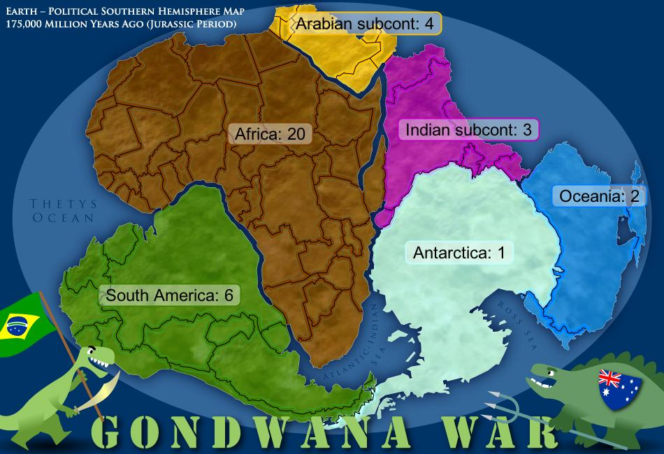 Gondwanawar map in the jurassic era earth was covered with a pair of supercontinents the largest one gondwana was about to disperse into the current continents south gumiabroncs Image collections