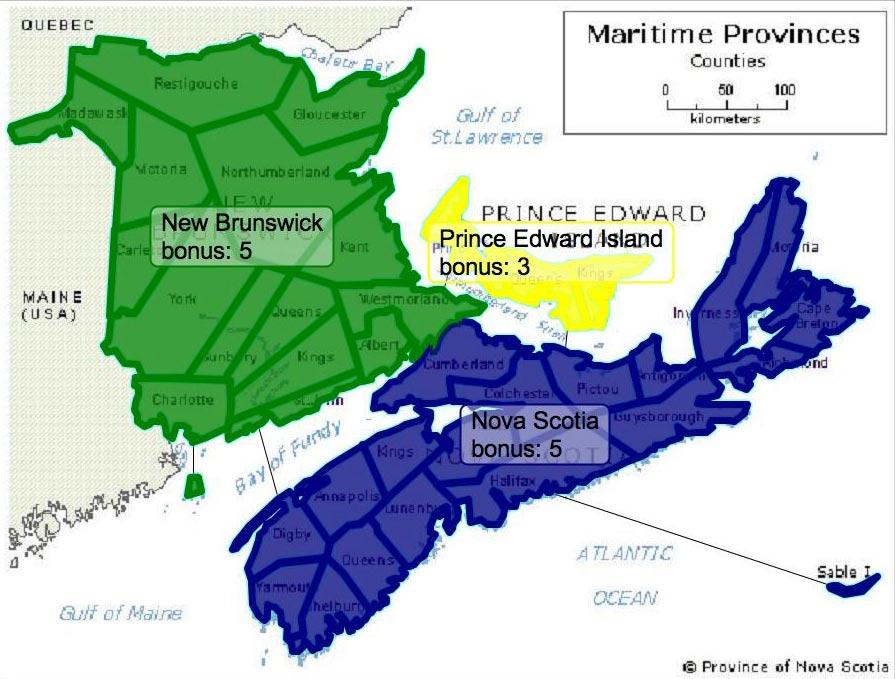 Maritimes Canada Map