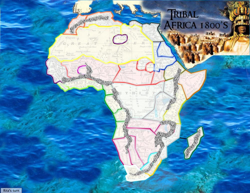 Map Of Africa In 1800.Tribal Africa 1800s Map