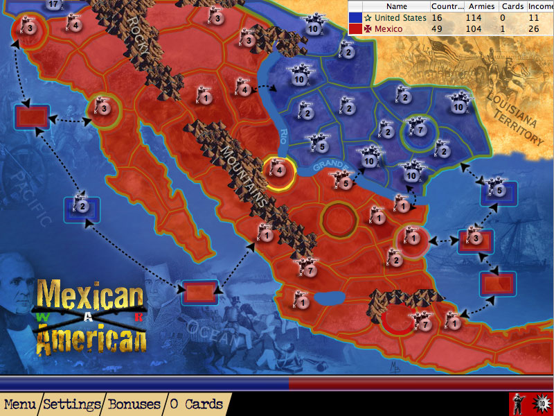 Screenshot of Mexican American War from American History Lux