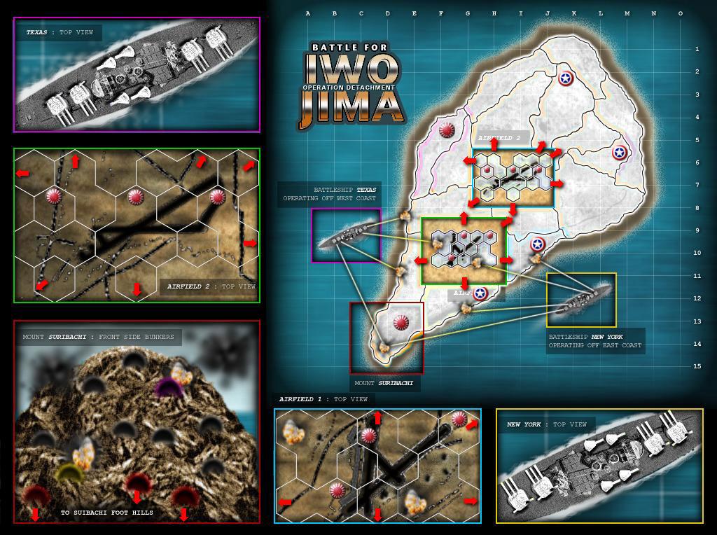 Battle For Iwo Jima - Operation Detachment Map on