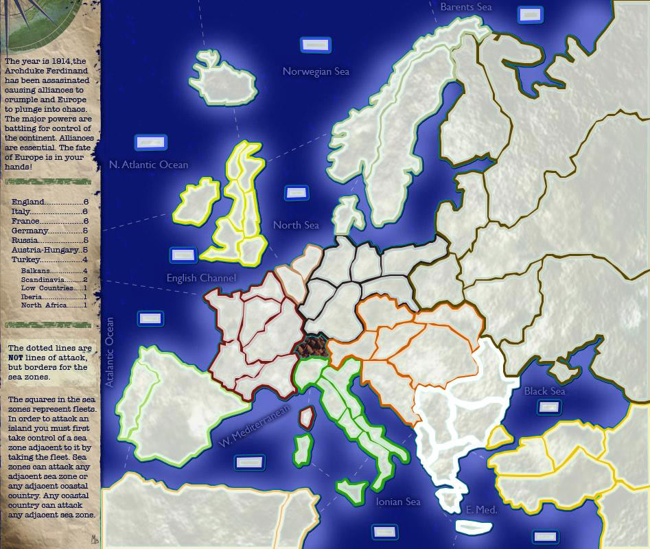 World war 1 map the year is 1914 the archduke ferdinand has been assasinated causing alliances to crumple and europe to plunge into chaos the major powers are battling gumiabroncs