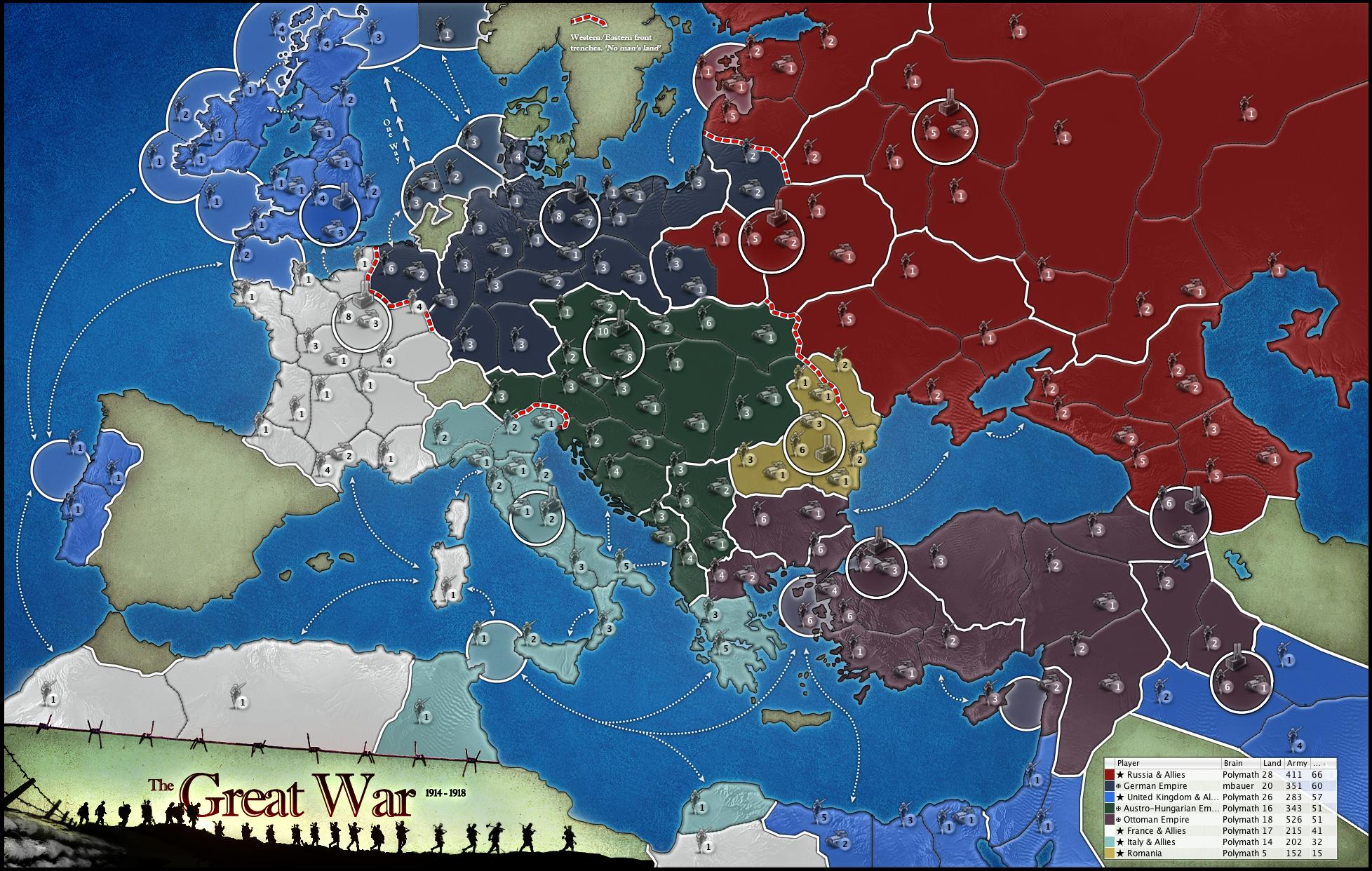 THE GREAT WAR Map on game of thrones kingdom map, empire total war map, current world conflict map, medieval 2 total war map,