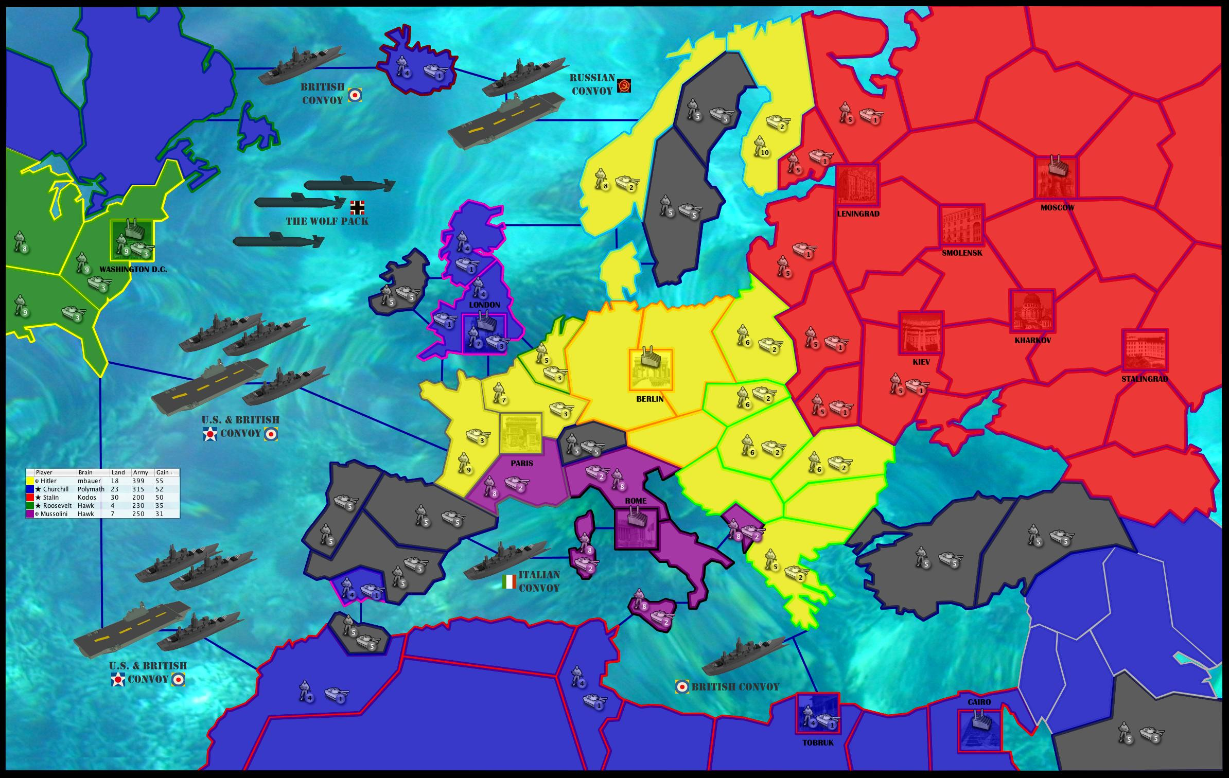WORLD WAR II - EUROPE 1942 Map